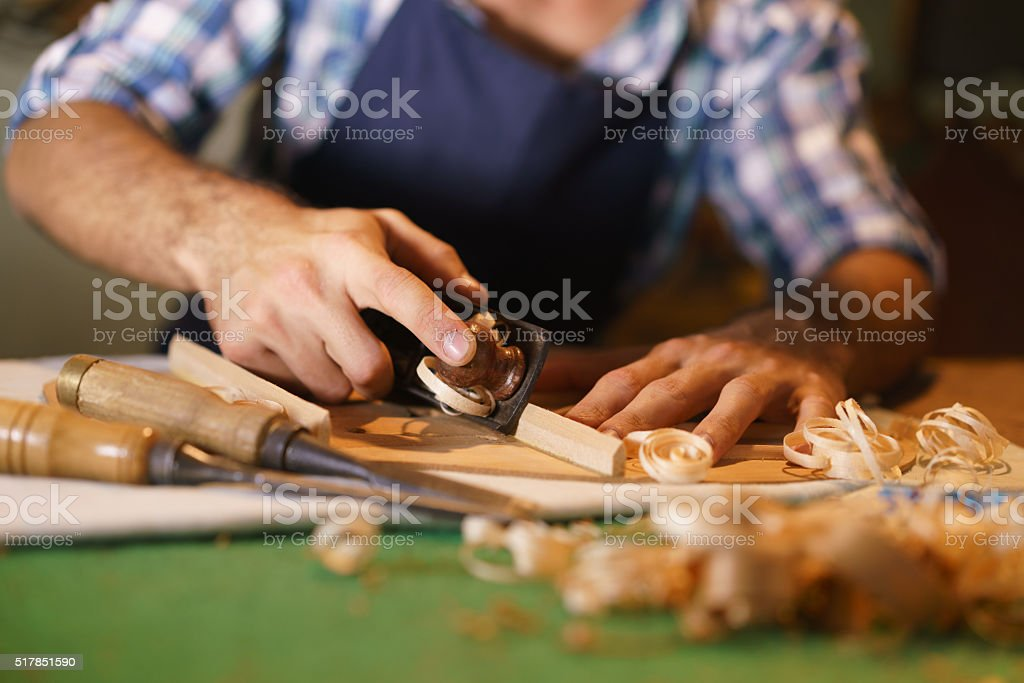 Artisan Lute Maker Chiseling Stringed Instrument Classical Guitar stock photo