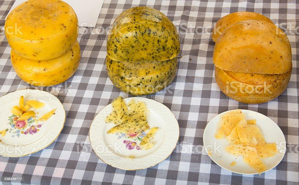 Artisan market with Fenugreek nettle bruschetta cheese stock photo