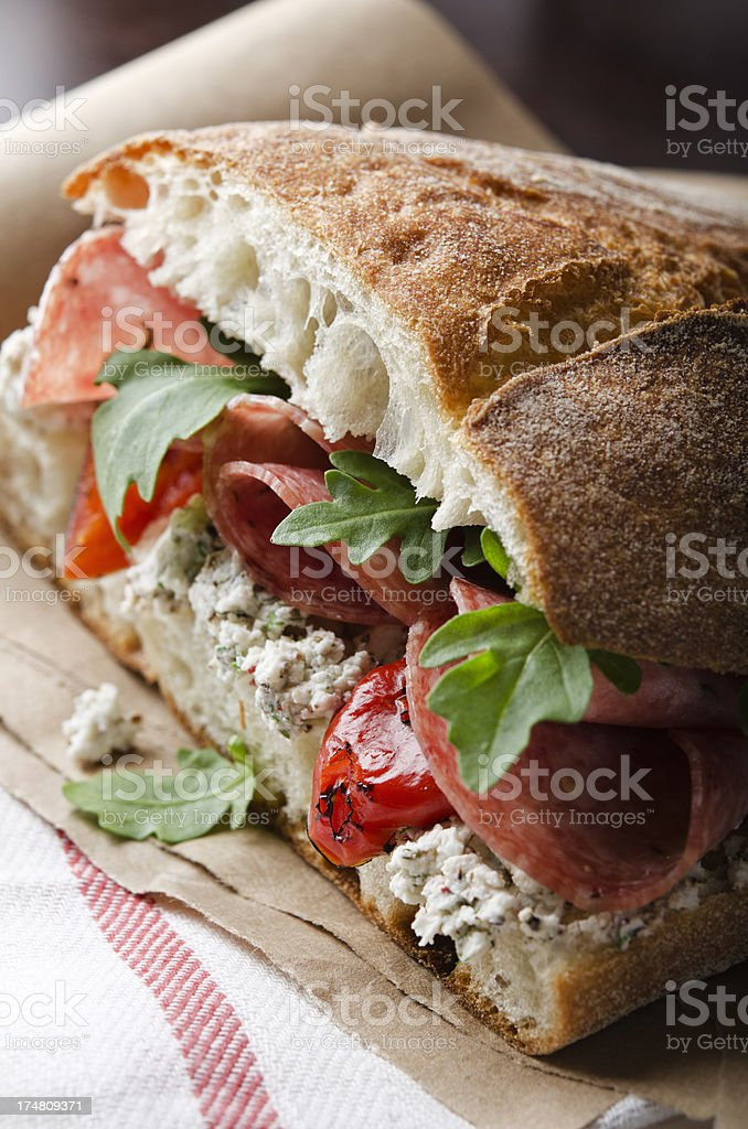 Artisan Salami Sandwich stock photo