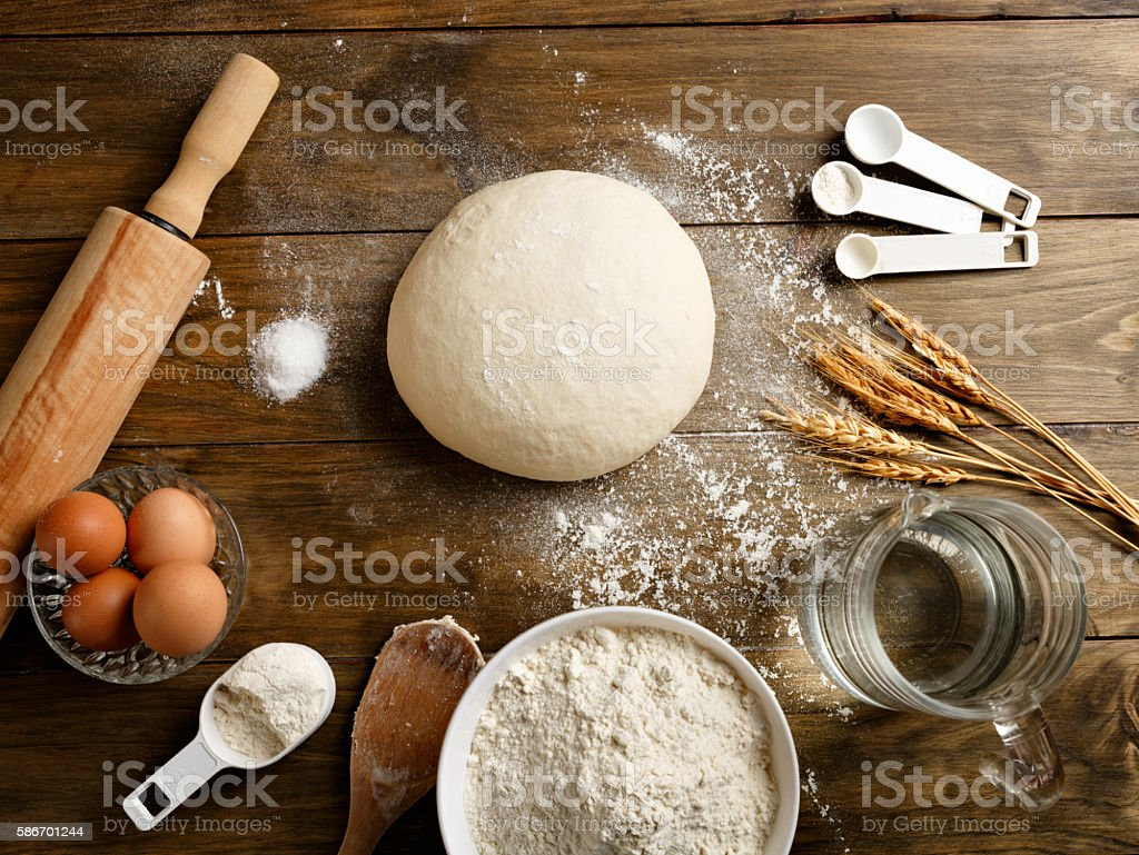 Artisanal Bakery: Dough making ingredients and utensils stock photo