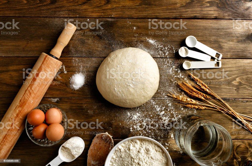 Artisanal Bakery: Dough making ingredients and utensils stock photo