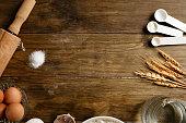 Artisanal Bakery: Frame of dough making ingredients and utensils