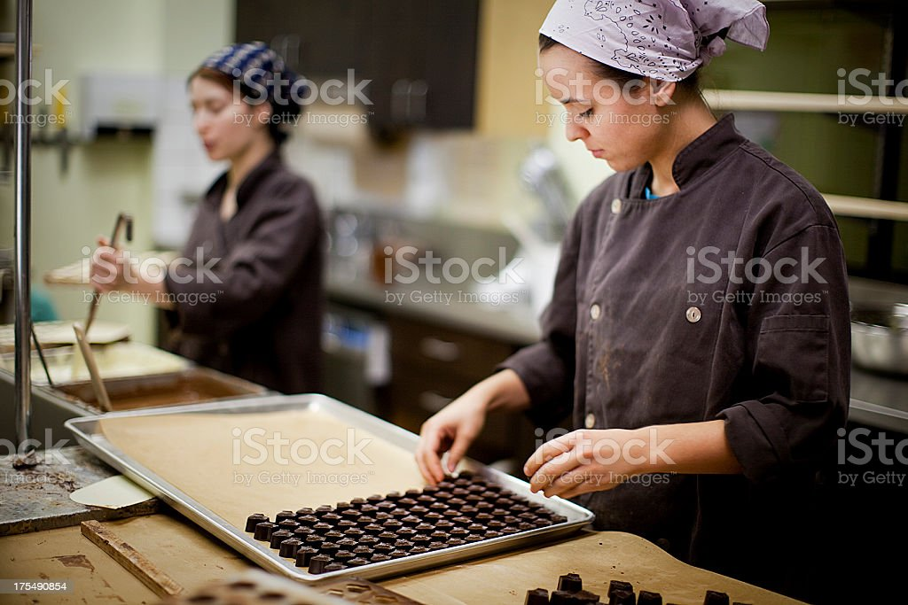 Artisanal chocolate production stock photo