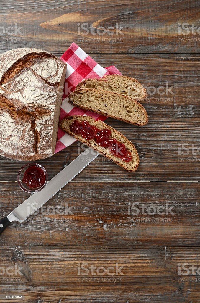 Artisanal German Rye Bread With Jam royalty-free stock photo