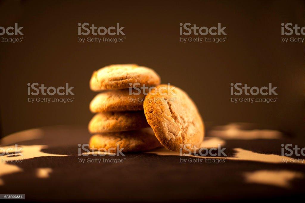 Artisanal Homemade Cookies (Studio Shot, Dark Background) stock photo