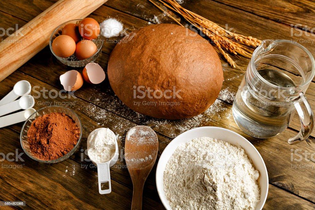 Artisanal Sourdough Bread making, ingredients and utensils stock photo
