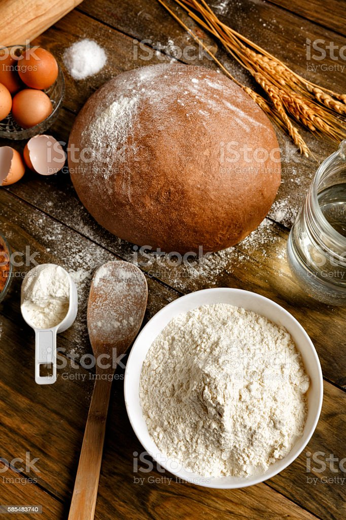 Artisanal Sourdough Bread making, ingredients and utensils stock photo
