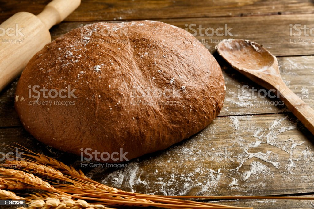 Artisanal Sourdough Bread making, ingredients and utensils. stock photo