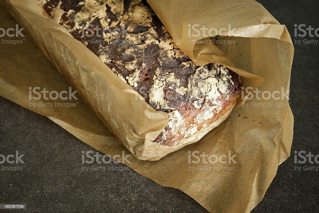 Artisanal whole rye bread. stock photo