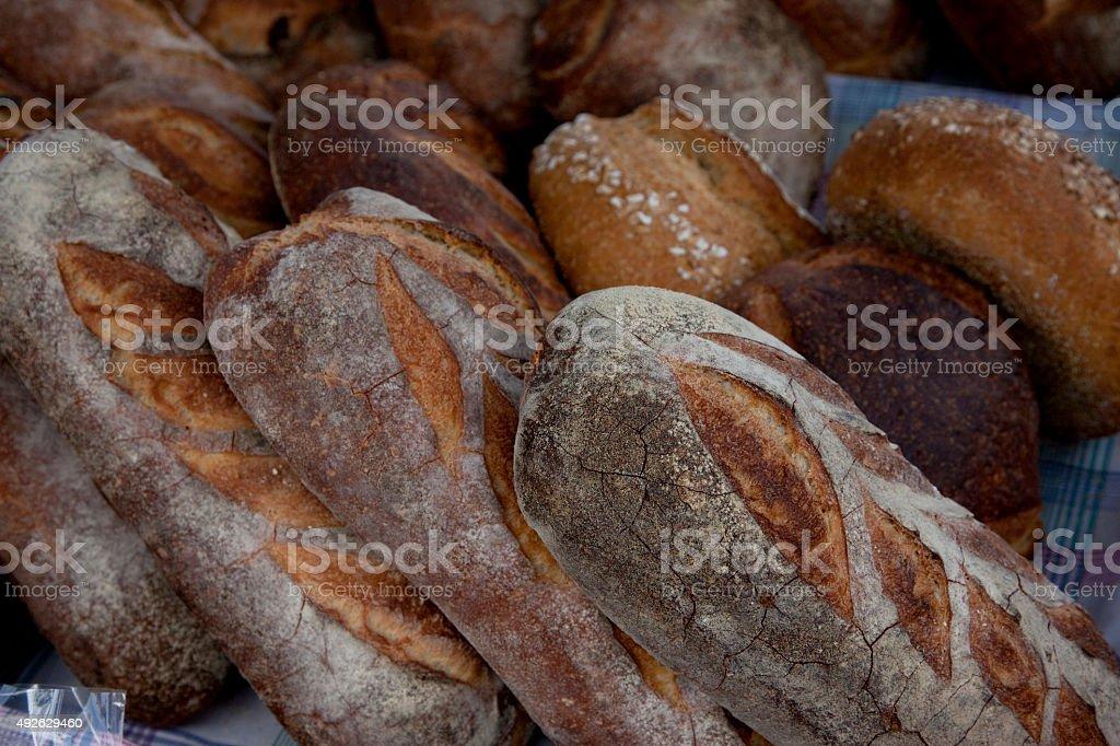 Artisian bread  at the farmers market stock photo