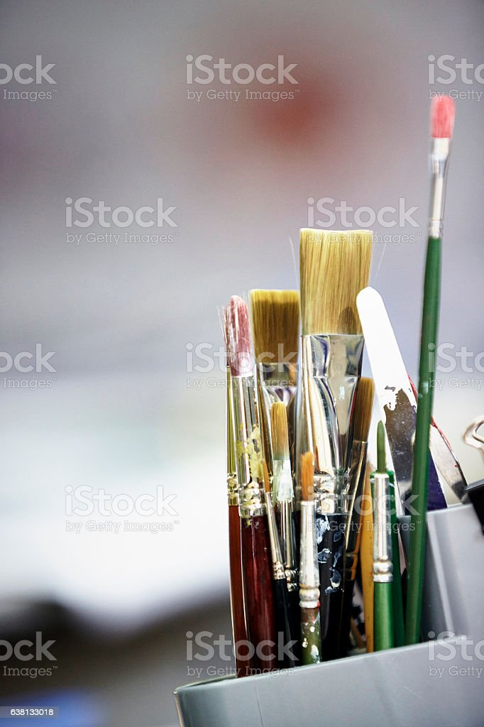 Artisits brushes stock photo