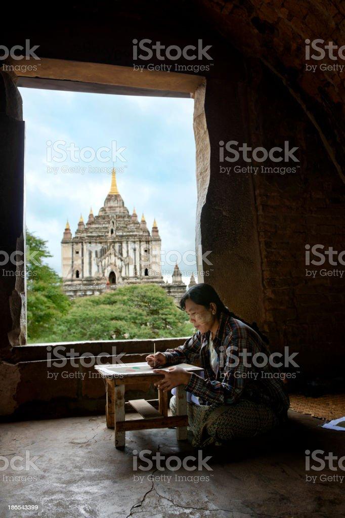 Artist at Temple in Bagan, Myanmar royalty-free stock photo