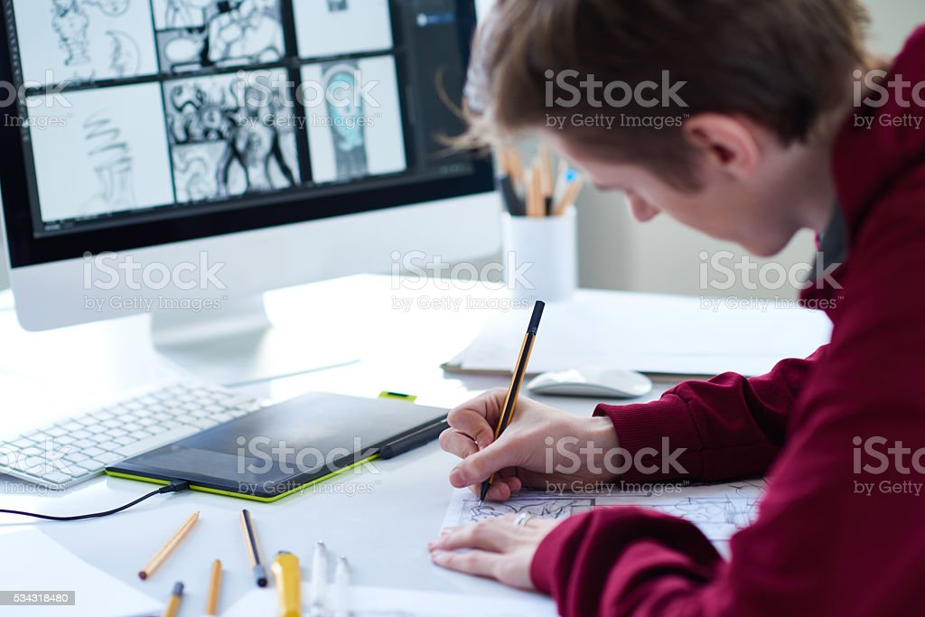 Artist at work stock photo