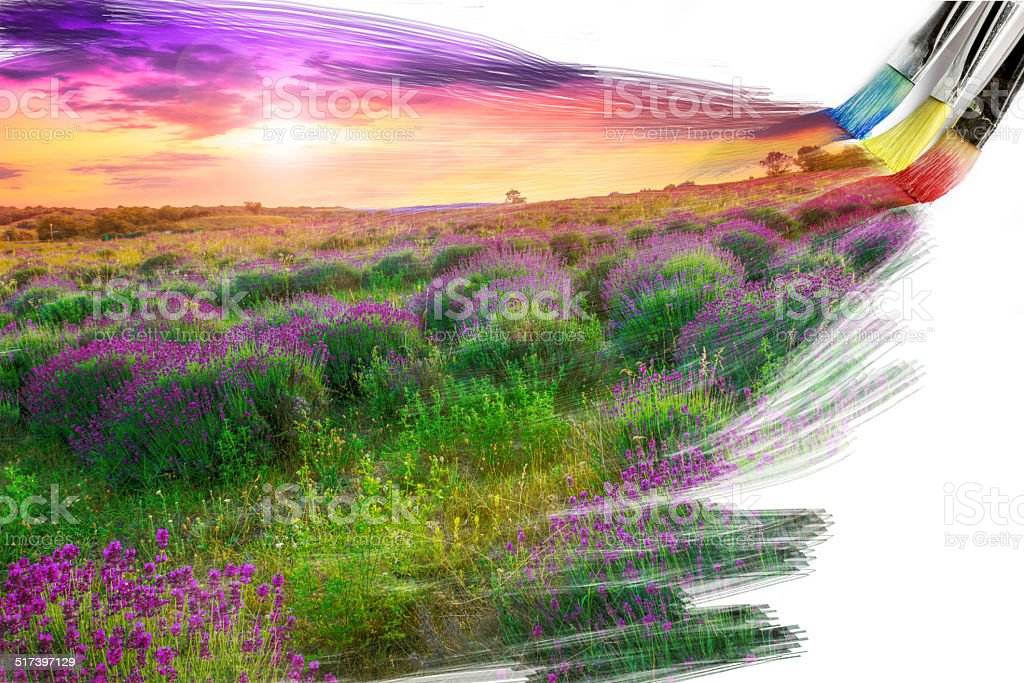 artist brush painting picture of beautiful landscape stock photo