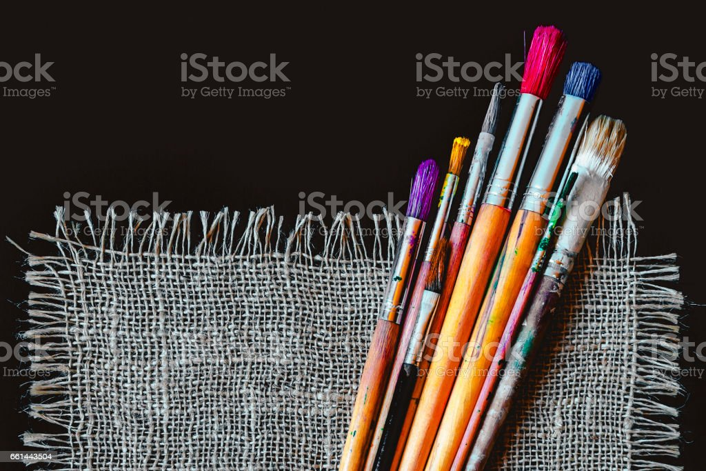 Artist brushes for painting stock photo
