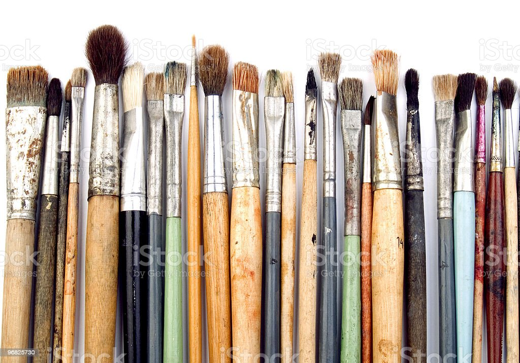 Artist brushes isolated on white royalty-free stock vector art