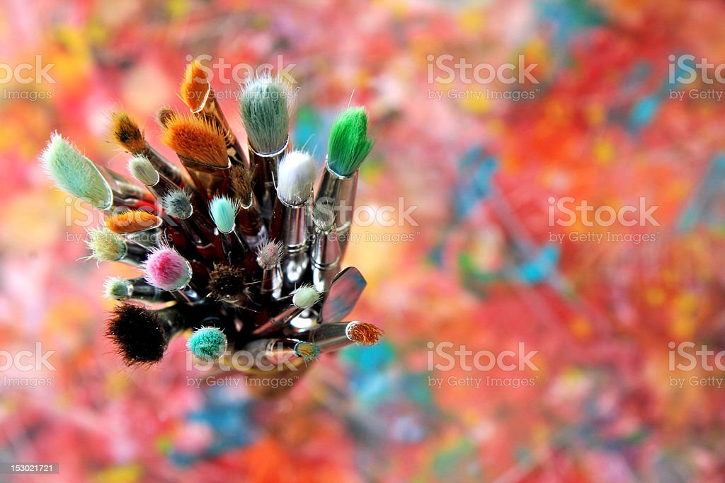 artist brushes stock photo