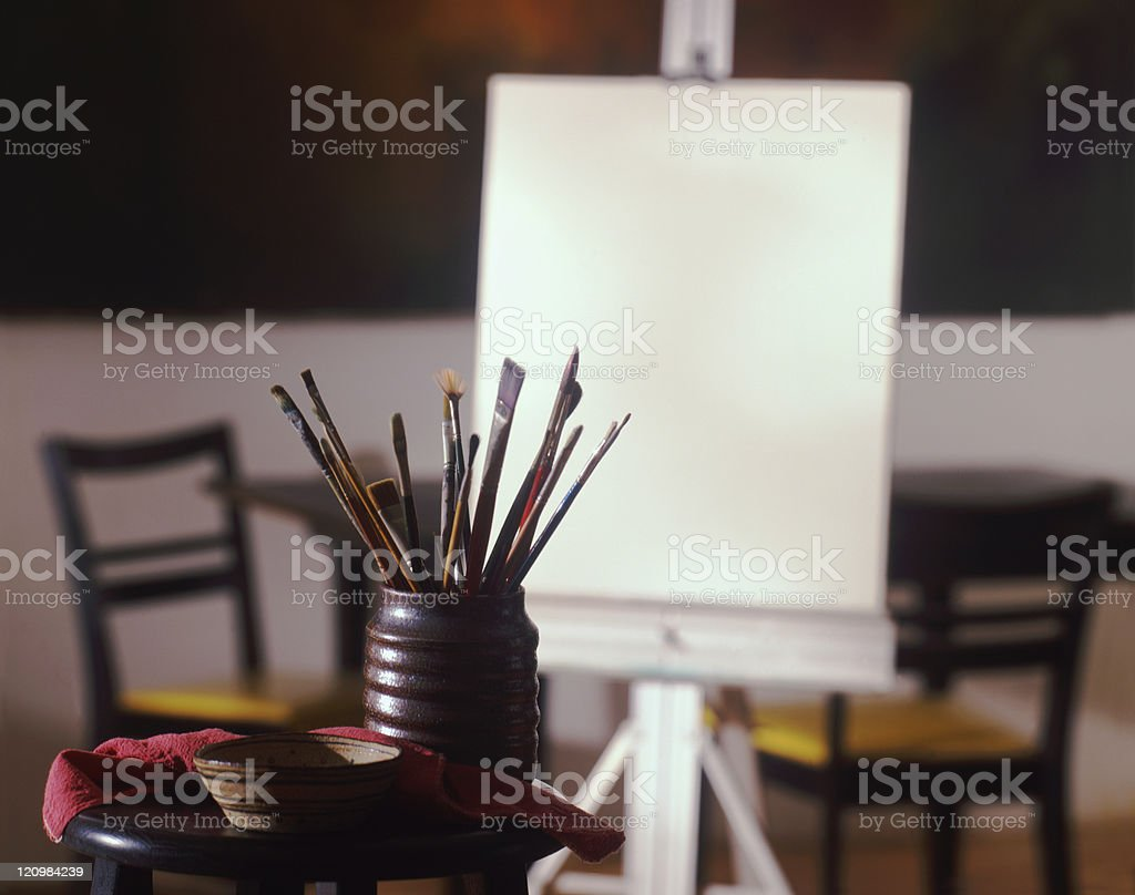 artist canvas with brushes royalty-free stock photo