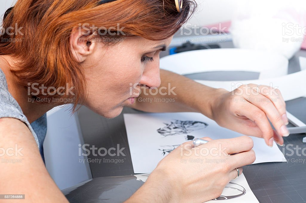 Artist designer draws stock photo