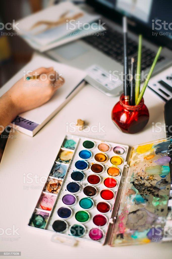 Artist desk stock photo