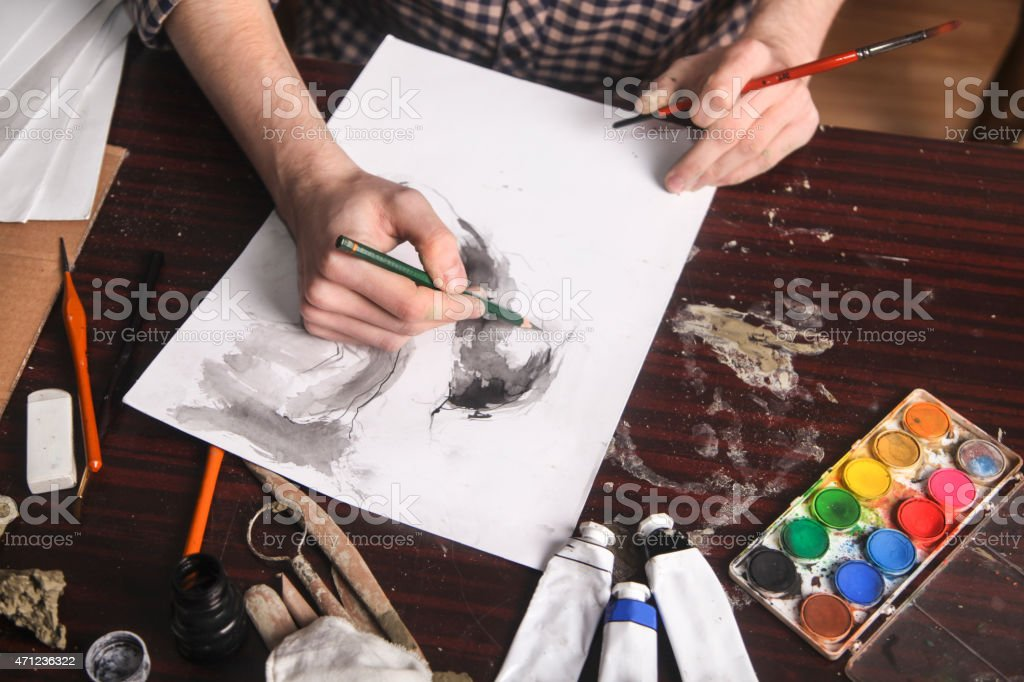 Artist drawing stock photo