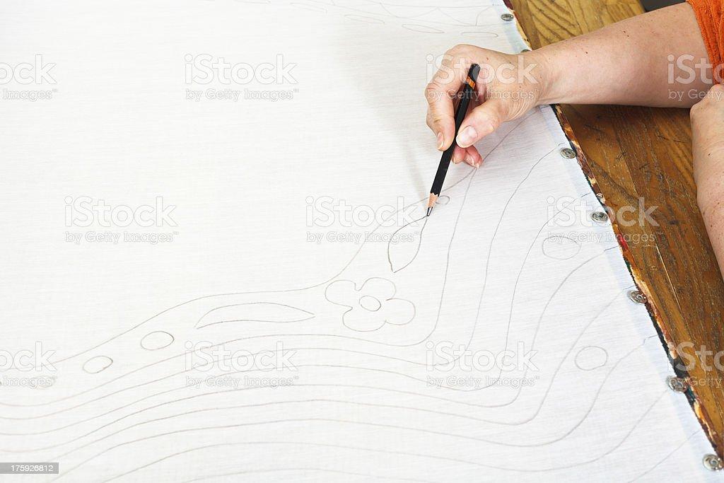 artist draws sketch on silk royalty-free stock photo