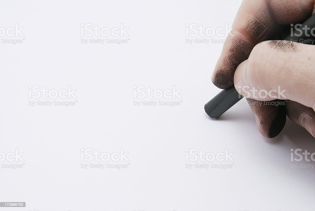 Artist Hand and Paper stock photo