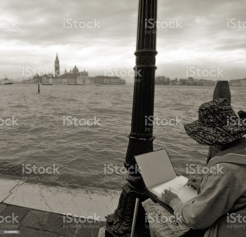 Artist in Venice, Italy. royalty-free stock photo