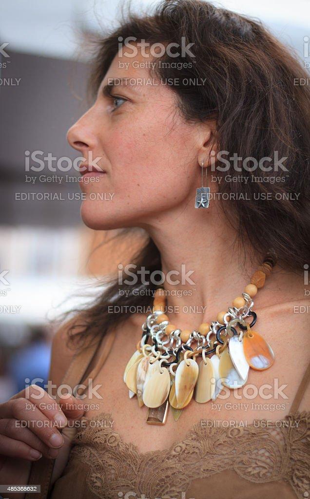 Artist Jenny Lauren Wearing Her Jewelry, Santa Fe Indian Market stock photo