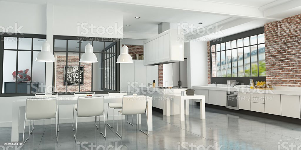 Artist loft kitchen stock photo