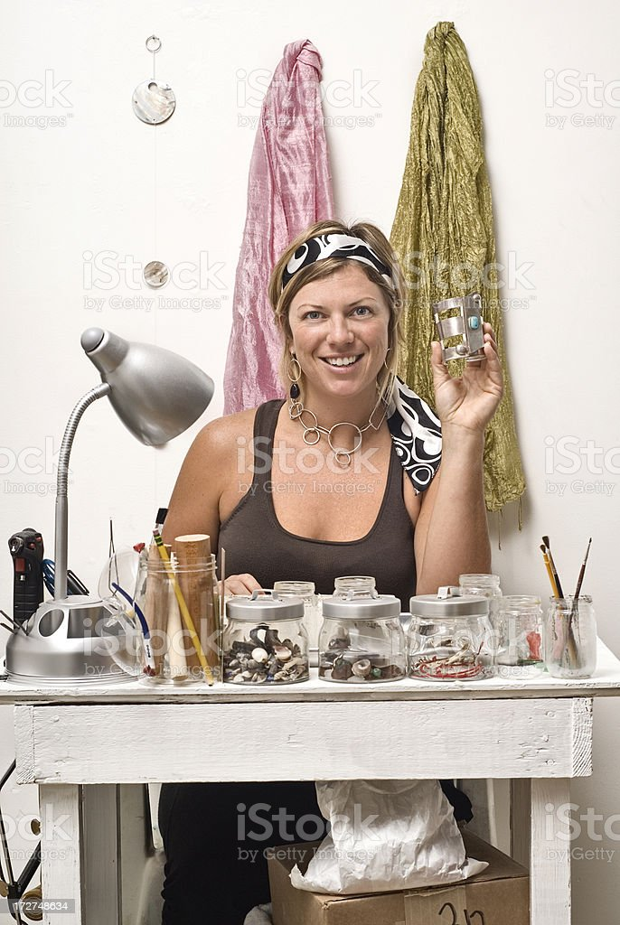 Artist Making Jewelry royalty-free stock photo