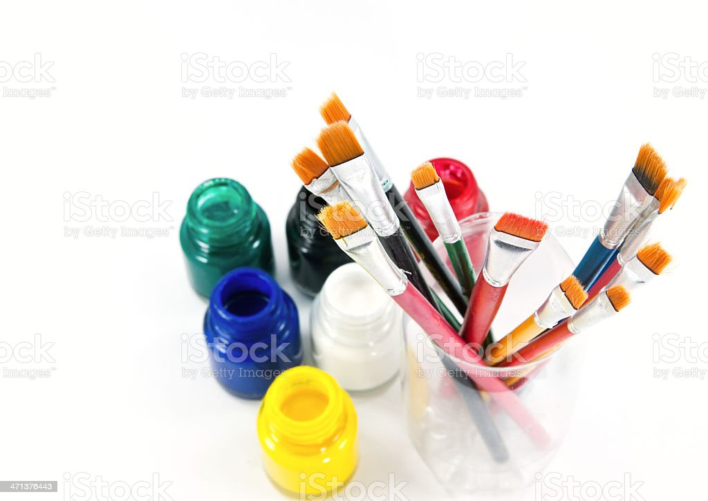 Artist paint brushes and water colors royalty-free stock photo
