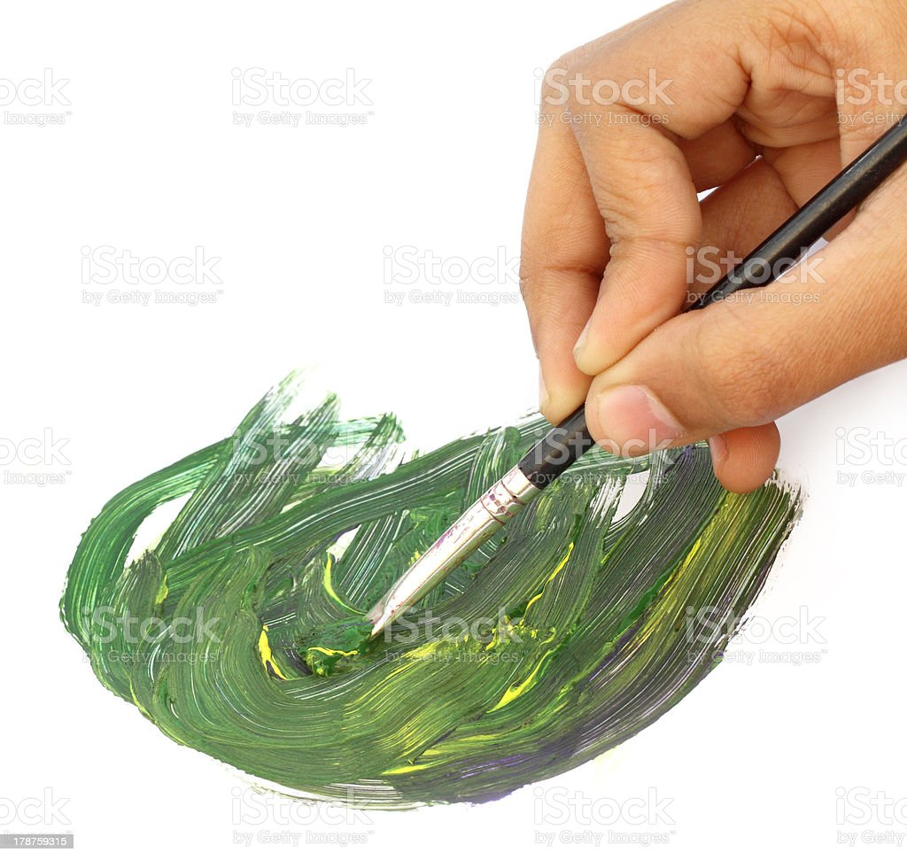 Artist Painting with brush royalty-free stock photo