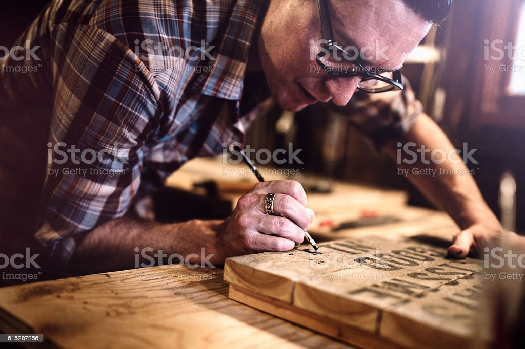 Artist Painting Wood Canvas stock photo