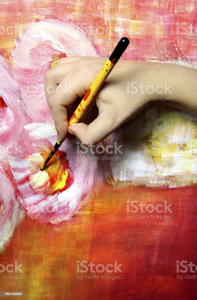 Artist paints his picture royalty-free stock photo