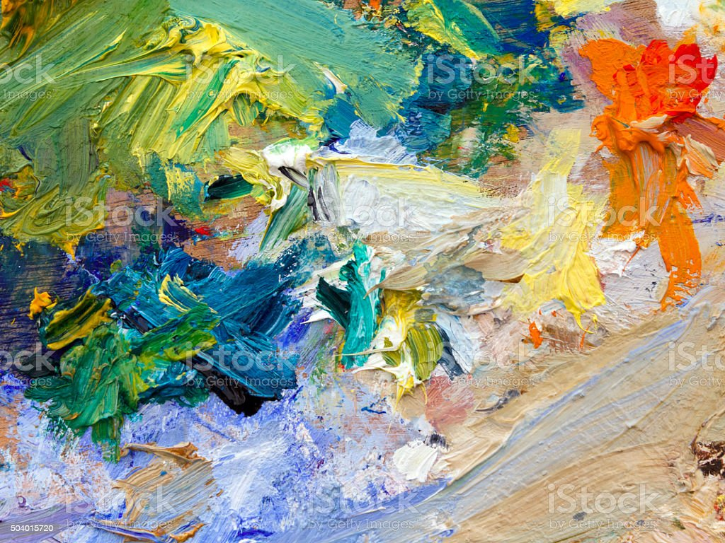 Artist palette close up stock photo