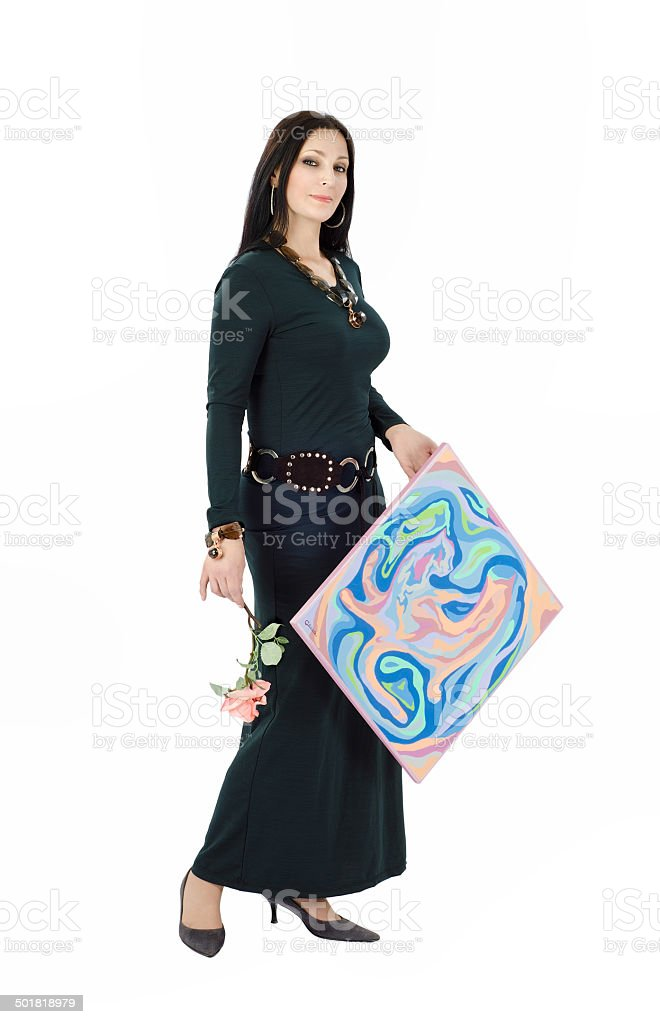 Artist posing with abstract painting Cats stock photo