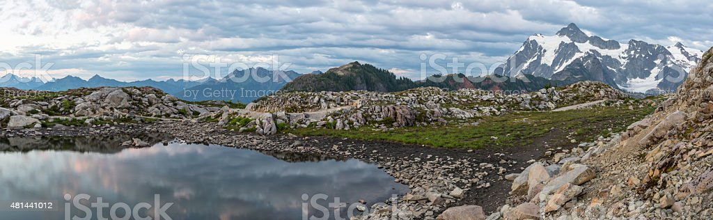 Artist Ridge Tarn Twilight Panorama stock photo