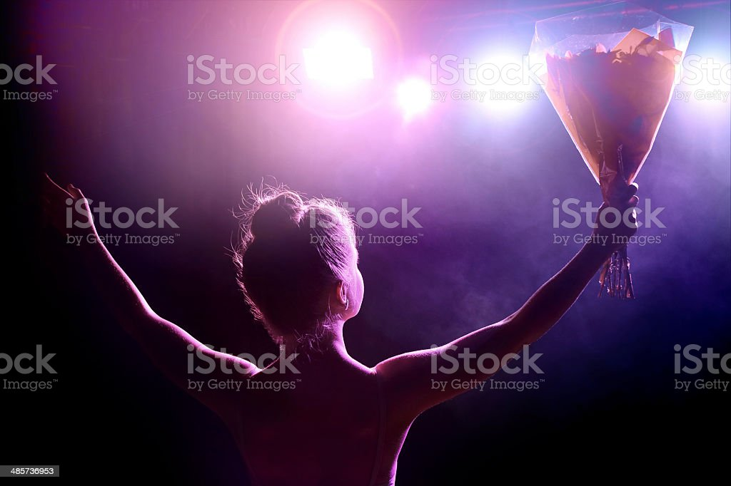 Artist saluting the public stock photo