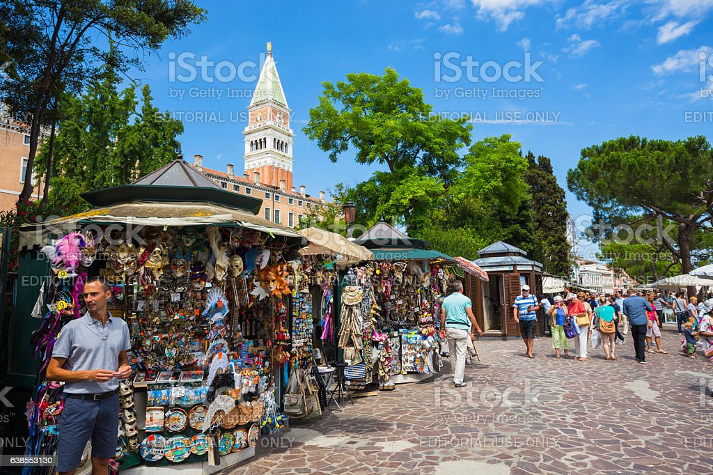Artist sells paintings on the waterfront in Venice, Italy stock photo