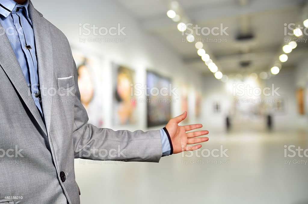 Artist welcome guest to the image exhibition show stock photo