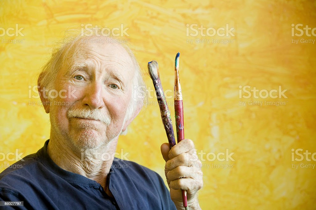 Artist with Brushes and Copy Space royalty-free stock photo