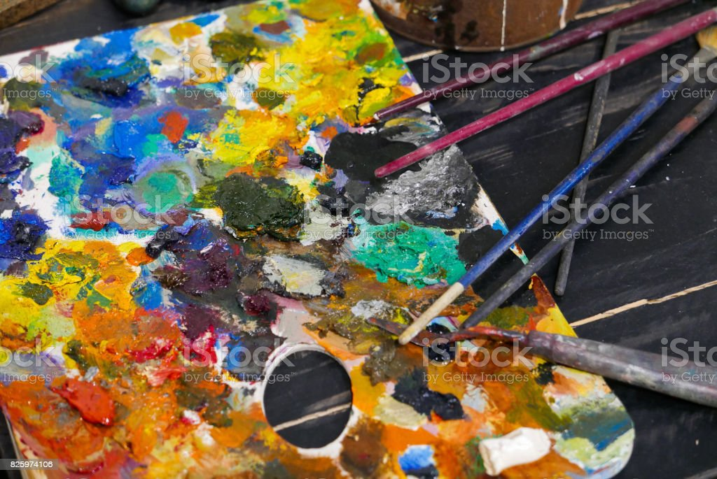 Artist work shop Abstract color Palette stock photo