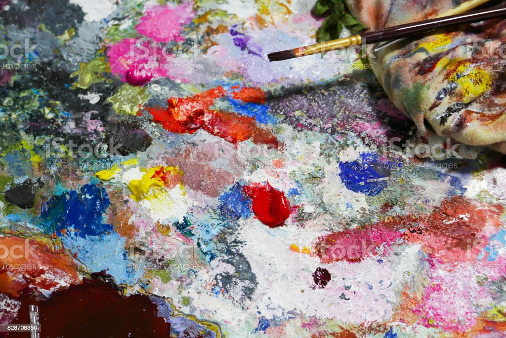 Artist work shop Abstract color Palette. stock photo