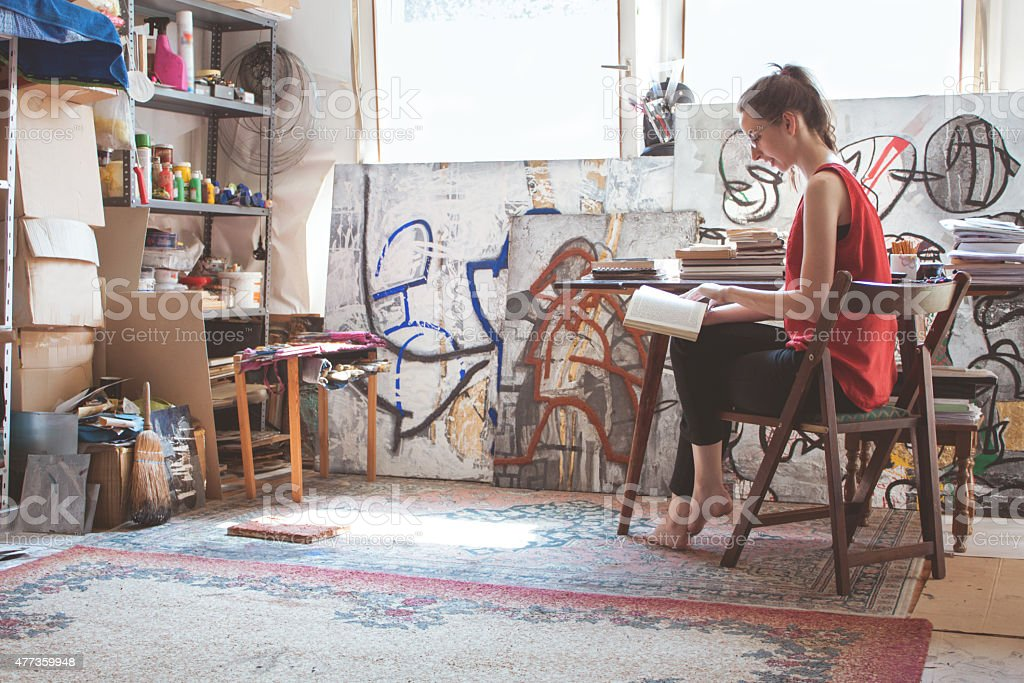 Artist working on her new project stock photo