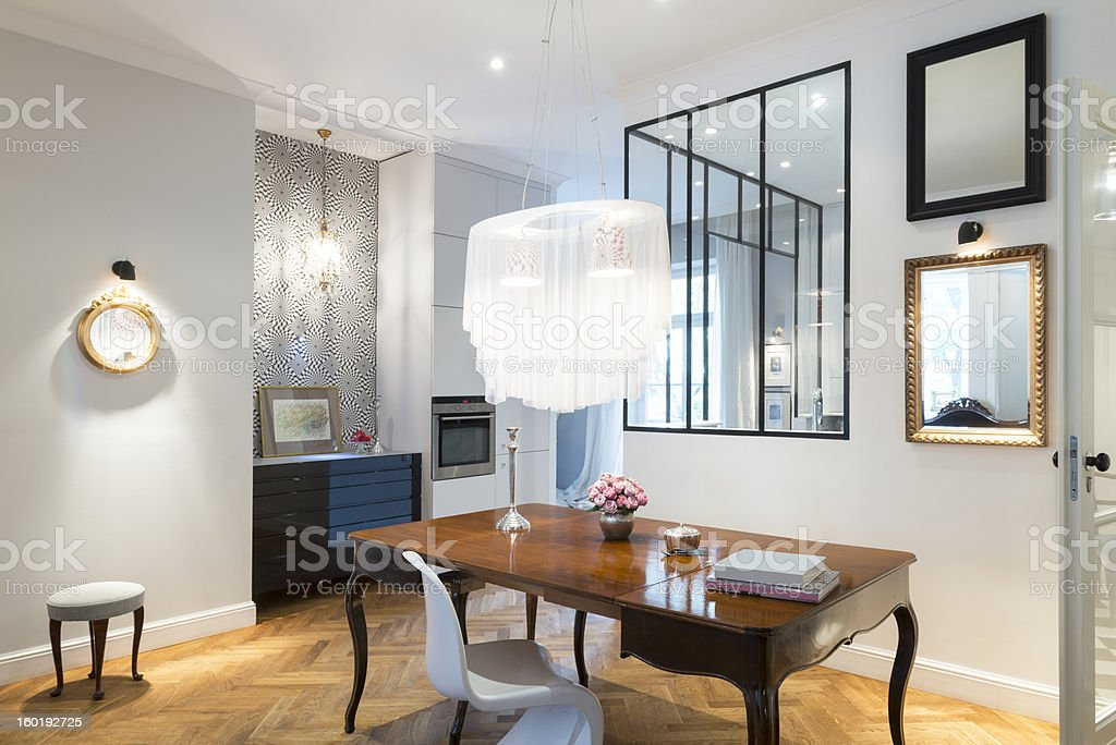 Artistic and stylish apartment interior, living room and kitchen stock photo