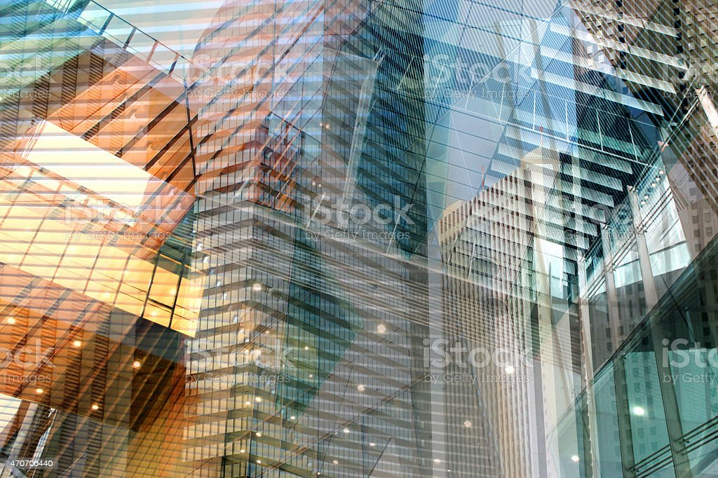 Artistic architecture background wih building and engineering details, multiple exposure stock photo