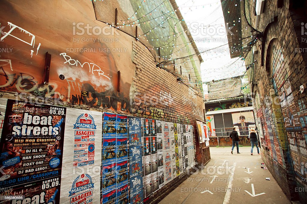 Artistic area of Friedrichshain with underground clubs stock photo