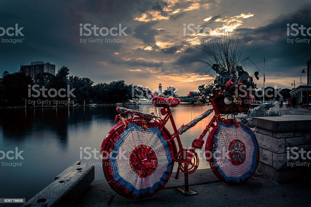 Artistic Bicycle by the lake stock photo