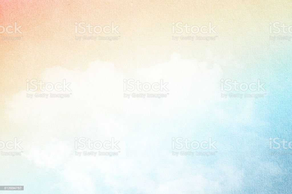 artistic cloud and sky with grunge  paper texture stock photo